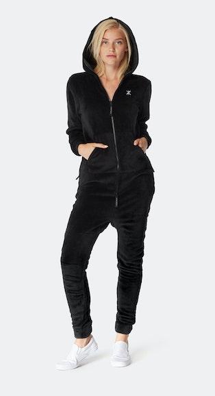 Onepiece Puppy Hug Fleece Jumpsuit Black