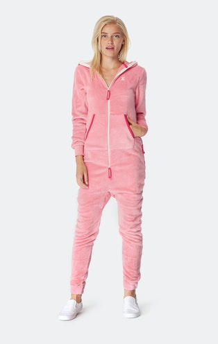 Onepiece Puppy Hug Fleece Jumpsuit Faded Pink