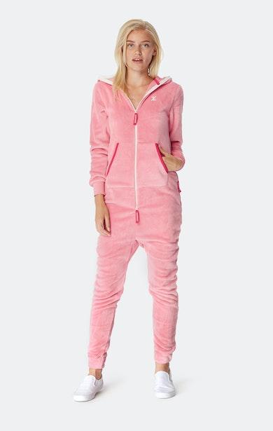 Onepiece Puppy Hug Fleece Jumpsuit Faded Pink