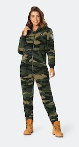 Onepiece Teddy Love Fleece Jumpsuit Army