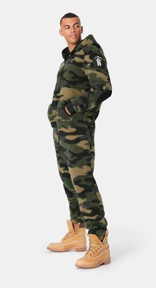 Onepiece Teddy Love Fleece Jumpsuit Army Camo