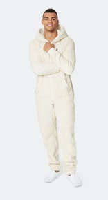 Onepiece Teddy Love Fleece Jumpsuit Off White