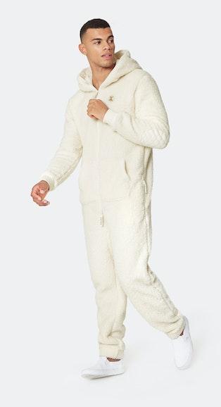 Onepiece Teddy Love Fleece Jumpsuit Off White