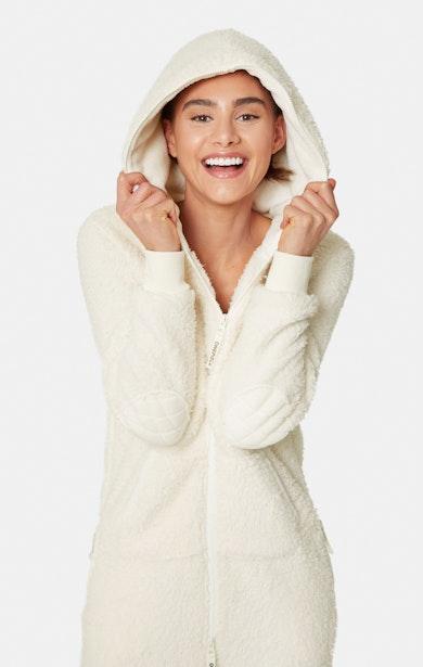 Onepiece Teddy Love Fleece Jumpsuit Weiß