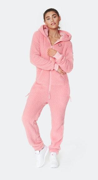 Onepiece Teddy Love Fleece Jumpsuit Pink