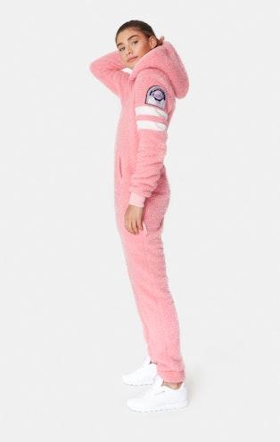 Onepiece Teddy Love Fleece Jumpsuit Pink Glow