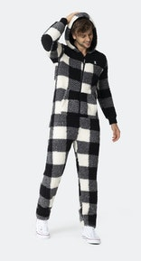 Onepiece Teddy Fleece Jumpsuit 2.0 Black/White Check