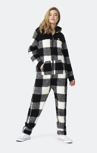 Onepiece Teddy Fleece Jumpsuit 2.0 Black/White Check
