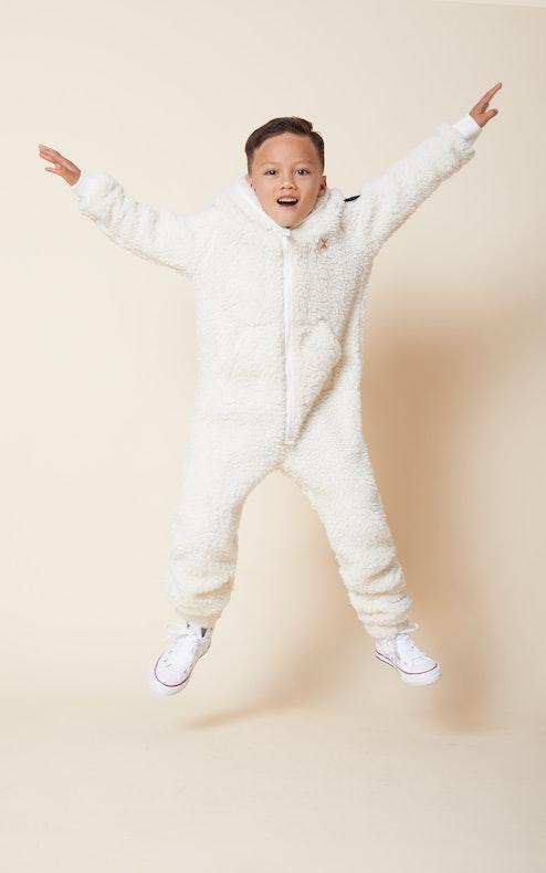 Onepiece Teddy Fleece Kids jumpsuit Off White