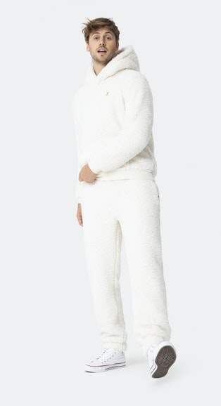 Onepiece Teddy Fleece Hoodie Off white