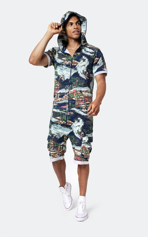 Onepiece The Vintage Hawaii Short Jumpsuit Blue Mix