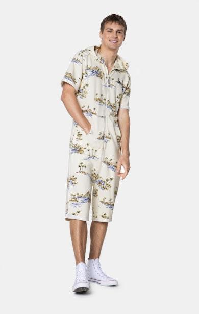 Onepiece Vintage Honolulu Short Jumpsuit Off White