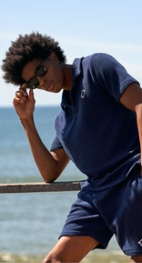 Onepiece Towel Club piquet shirt Navy