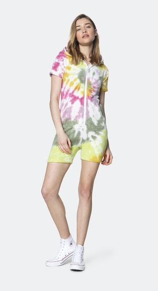 Onepiece Towel Club short slim Jumpsuit Multi tie dye