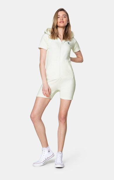 Onepiece Towel Club short slim Jumpsuit Blanc cassé