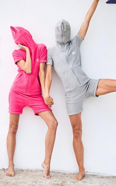 Onepiece Towel Short Slim Jumpsuit Grey