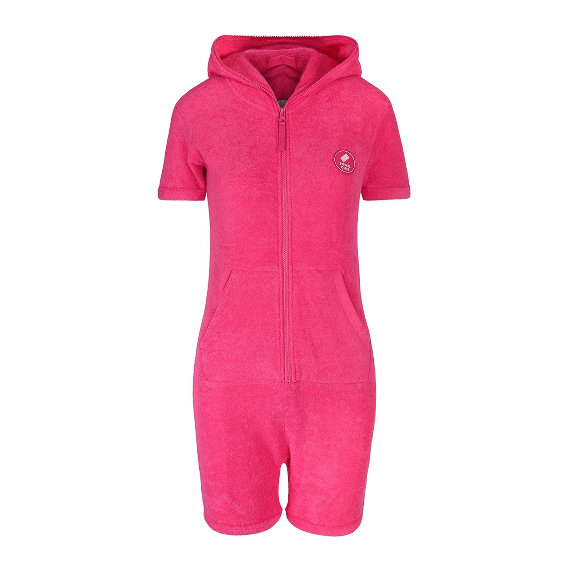towel short slim jumpsuit pink