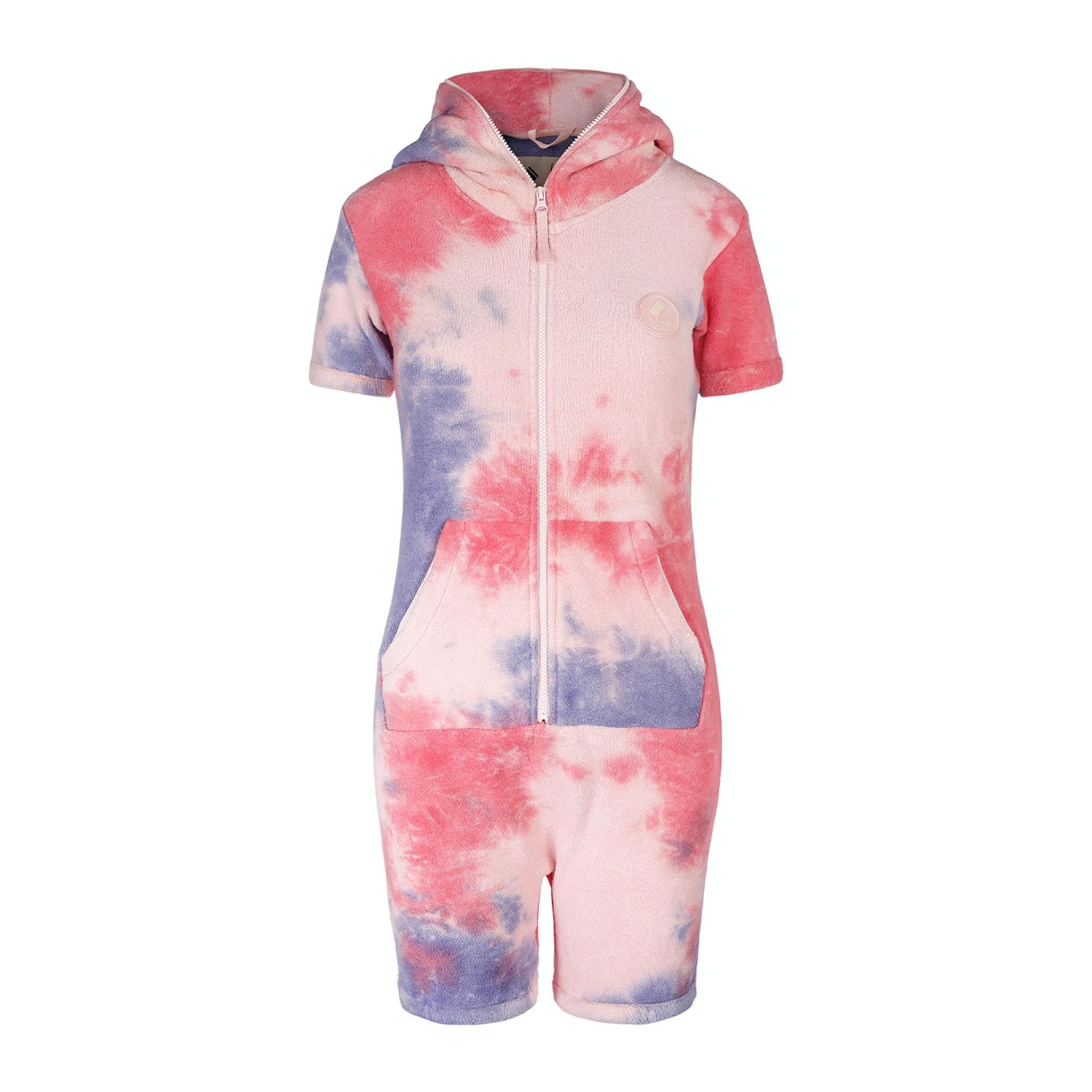 towel short slim jumpsuit tie dye