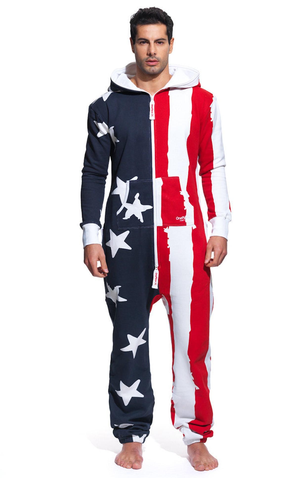 Onepiece usa onesie stars and stripes usa onesie for Mens dress shirt onesie