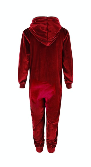 Onepiece Velour Kids Jumpsuit Red