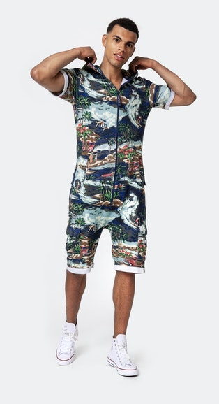 Onepiece Vintage Hawaii Short Jumpsuit Blue Mix