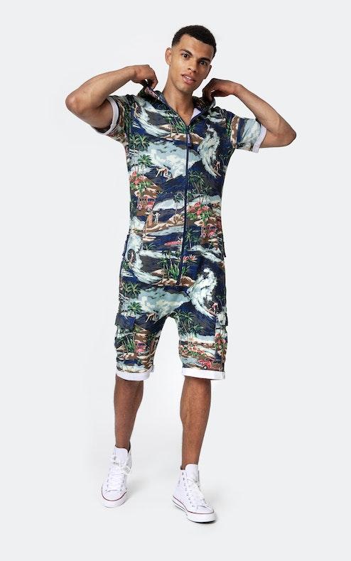Onepiece Vintage Hawaii Short Jumpsuit Blue Mix