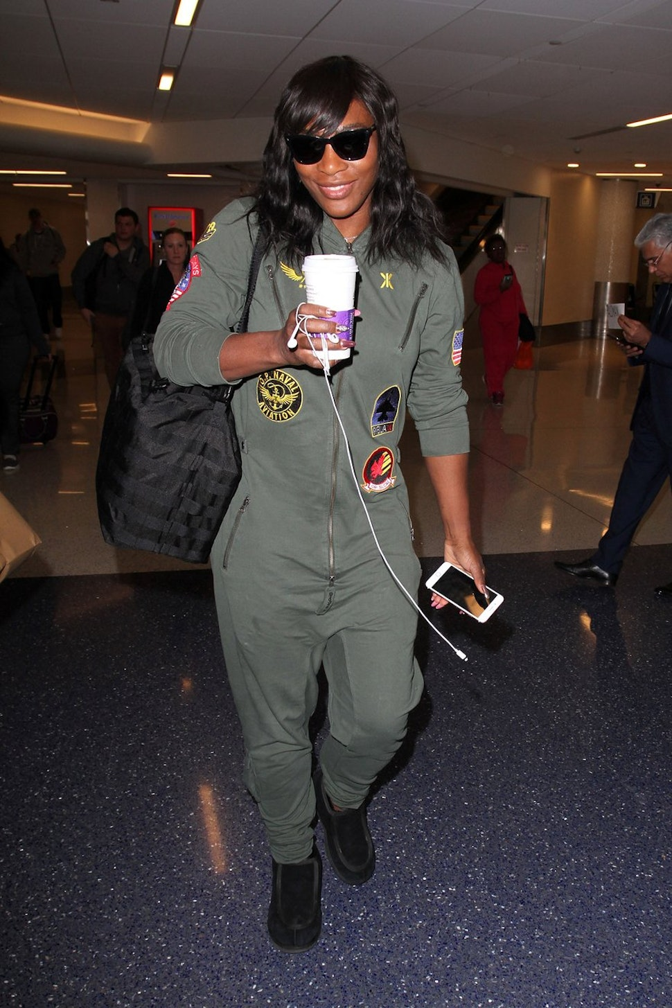 Serena Williams wearing Aviator Jumpsuit at the airport. Featured in Vogue